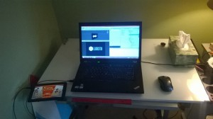 Laptop and tablet on a drafting table